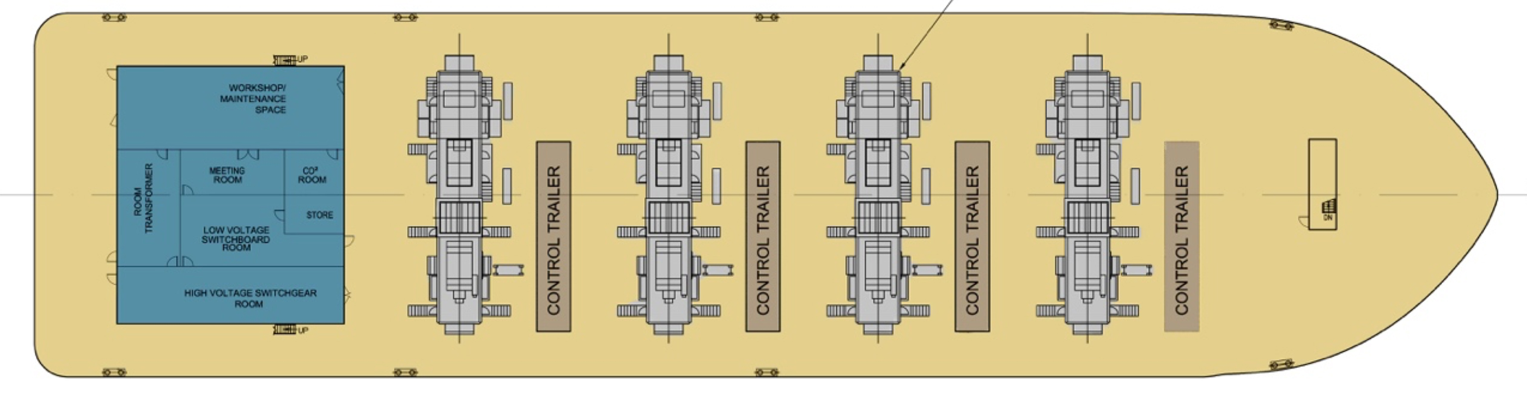Power Barge: 120 MW Turbine Configuration Layout