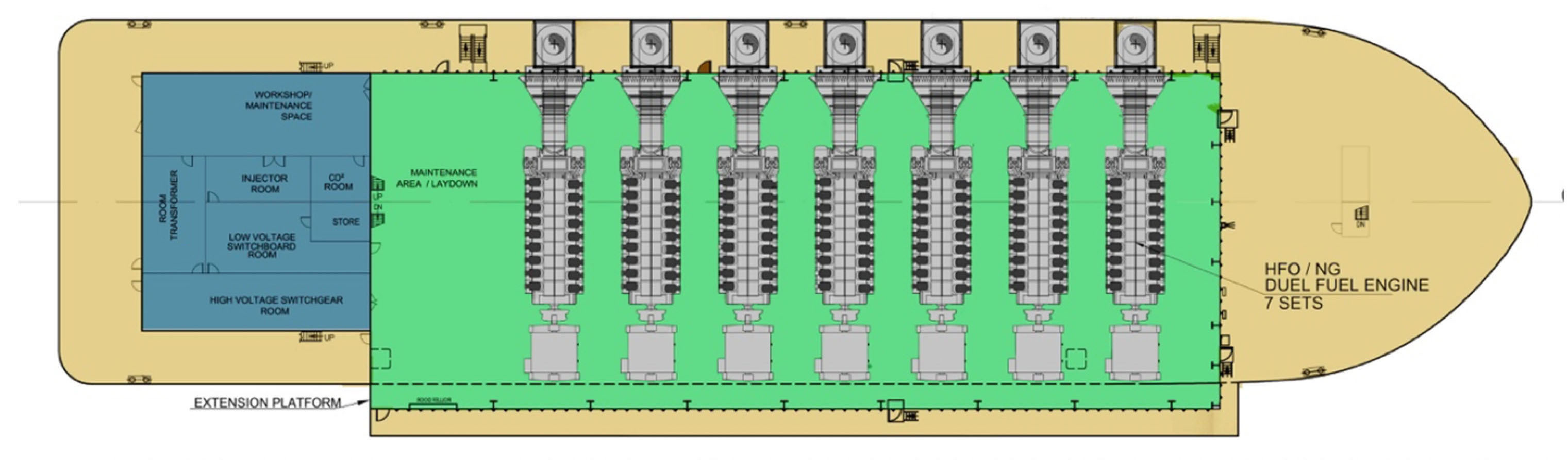 Power Barge: 120 MW Engine Configuration Layout